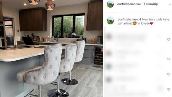 Lucinda and Aaron's house account included pictures of their luxurious kitchen