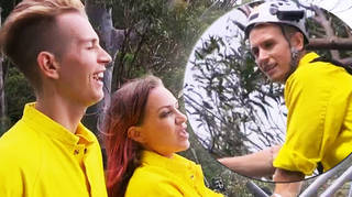 James McVey's harness is extremely tight on first 'I'm A Celeb' challenge