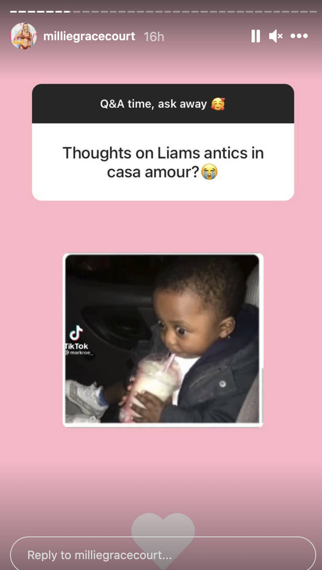 Millie's friends responded to Liam's antics in Casa Amor