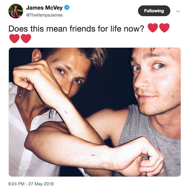 James got matching semicolon tattoos with bandmate Connor for mental health awareness