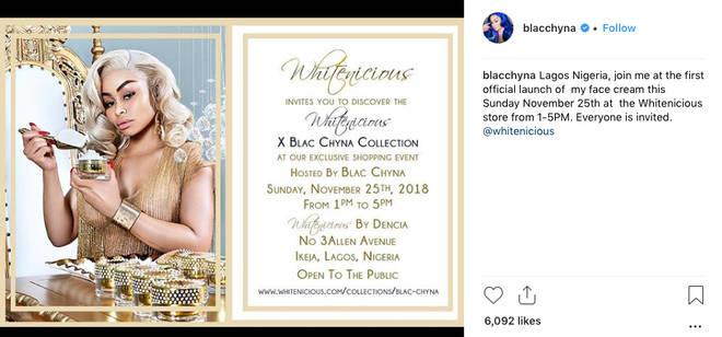Blac Chyna was promoting skin lightening cream on Instagram.