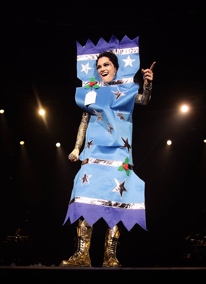 Jessie J dressed as a Christmas cracker at Capital's Jingle Bell Ball.