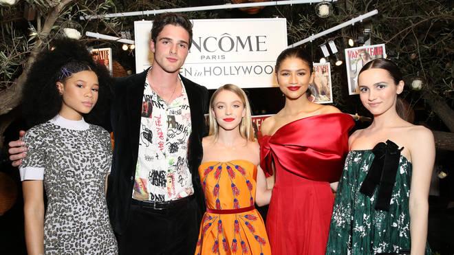 Jacob Elordi with Euphoria cast-mates, Zendaya, Maude Apatow, Sydney Sweeney and Storm Reid