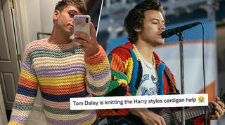 Tom Daley knitting Harry Styles' cardigan is everything!