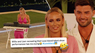 Millie and Liam had their Love Island co-stars in hysterics as they recreated the talent show