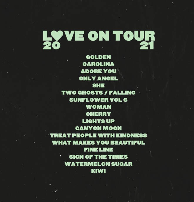 Harry Styles' Love On Tour performance set list