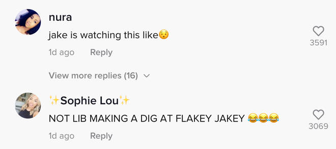 Love Island fans commented on Liberty's TikTok