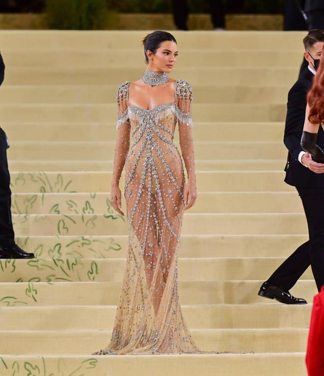 Kendall dons a luxurious sheer dress to the MET