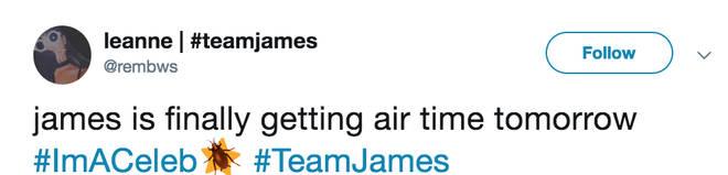Fans celebrate as James McVey finally gets 'screen time' on I'm A Celebrity