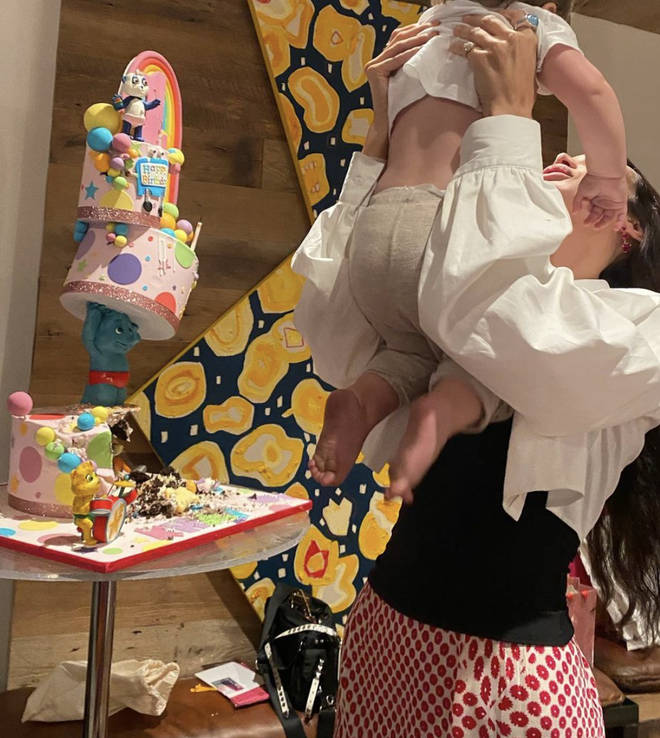 Khai had a three-tier birthday cake