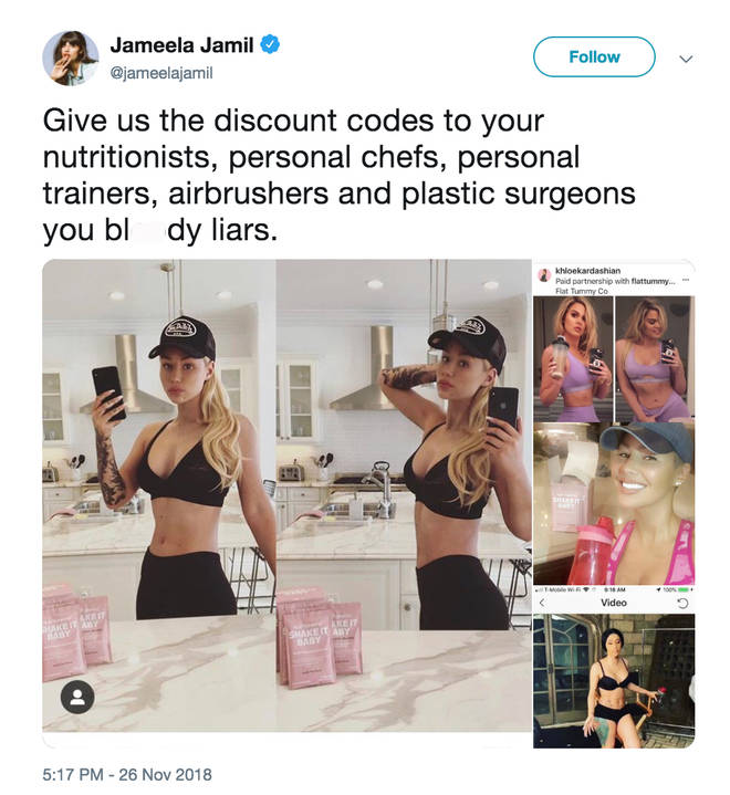 Jameela Jamil calls celebrities 'liars' for promoting weight loss shakes whilst using weight loss teams