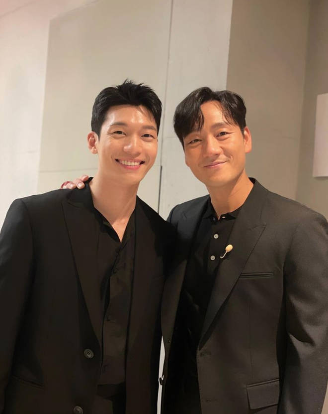 Wi Ha-joon with Squid Game cast mate Park Hae-soo