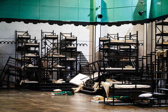 The beds in the dorms are stacked against the wall until the contestants are killed
