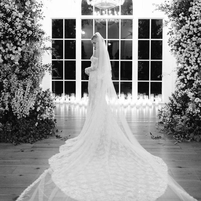 Hailey shared pictures of her stunning Off-White wedding dress