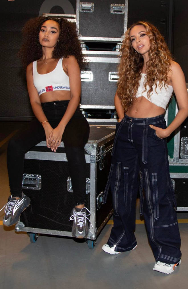 Leigh-Anne Pinnock and Jade Thirlwall backstage at one of their shows