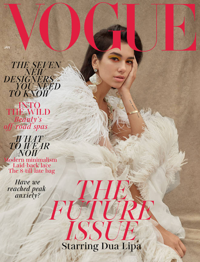Dua Lipa on the cover of British Vogue January 2019.
