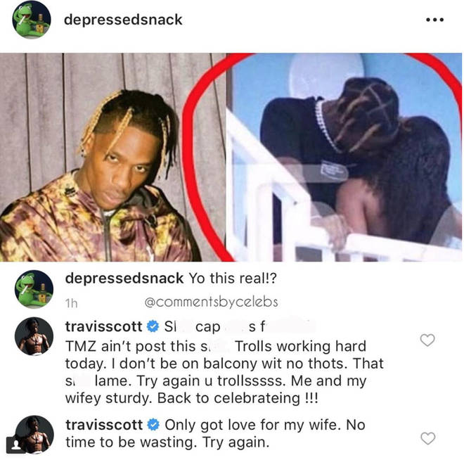 Travis Scott replies to photo claiming to be him and mystery woman on balcony