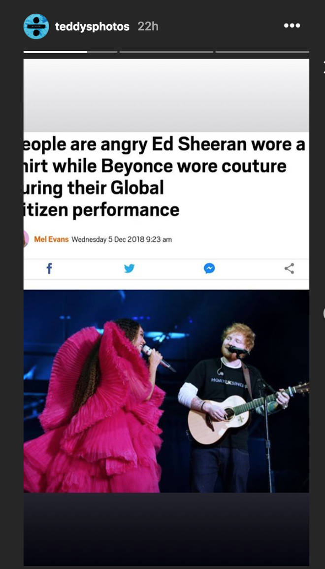 Ed Sheeran's Instagram response to his underdressed stage outfit is hilarious