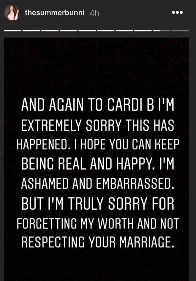 Summer Bunni sends Cardi B an apology