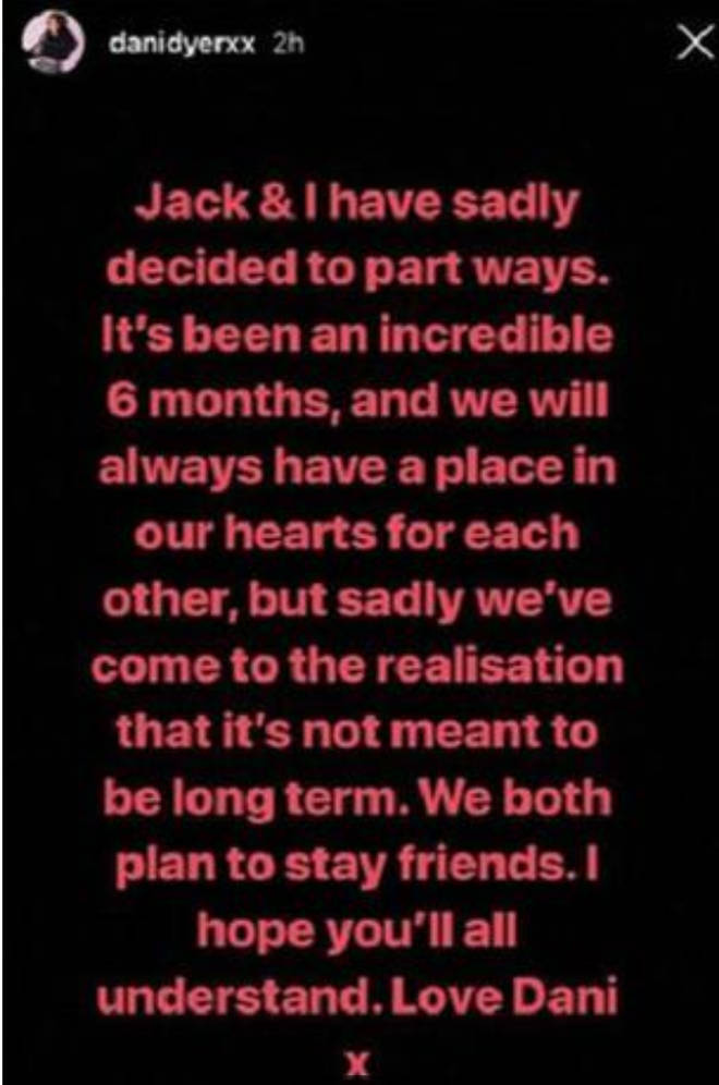Dani Dyer releases statement of her and Jack Fincham's split