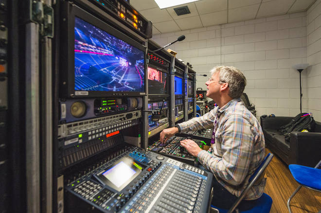 Backstage crew working on the Jingle Bell Ball 2018