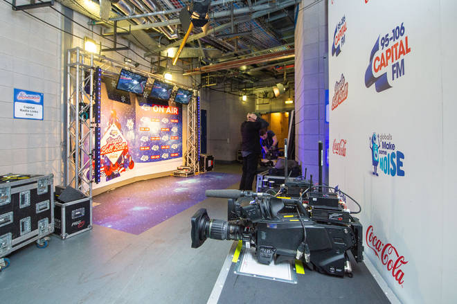 The bass station is all set up backstage at the Jingle Bell Ball