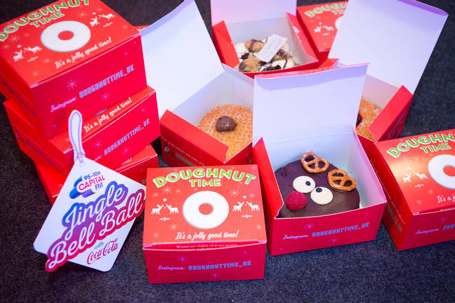 Festive themed Doughnut Time doughnut's backstage at the Jingle Bell Ball