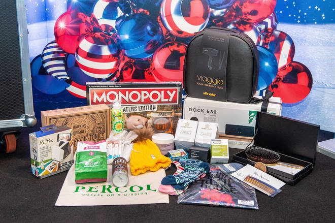 This year's backstage goody bag for our celebrities, including Monopoly and Viaggio hairdryer
