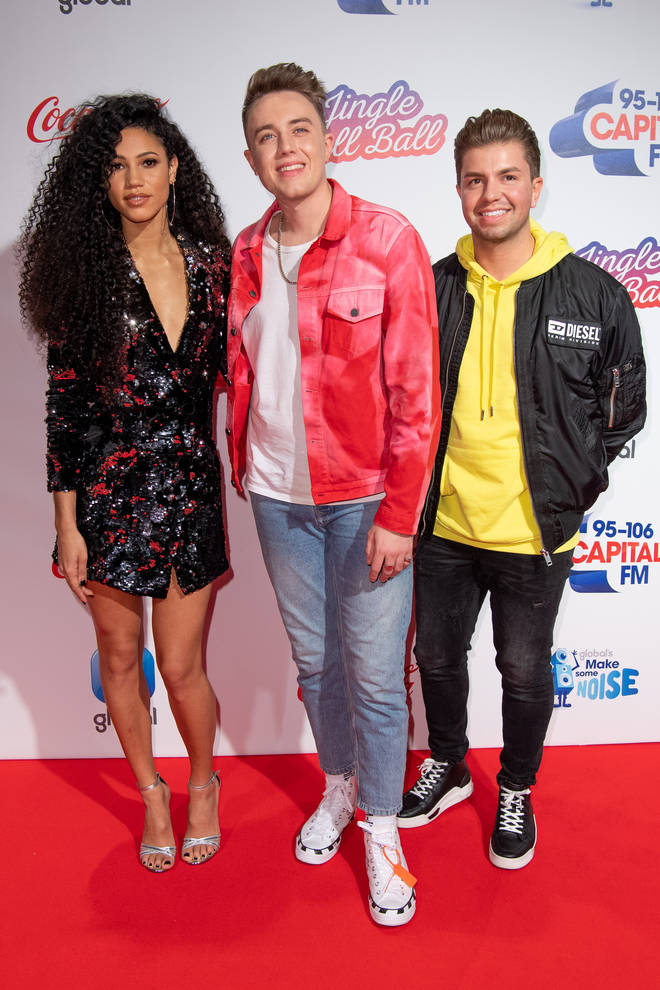 Vick Hope, Roman Kemp, Sonny Jay during day one of Capital's Jingle Bell Ball 2018