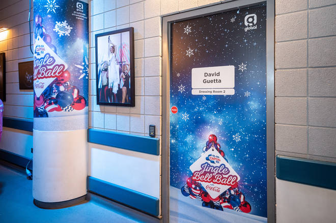 David Guetta's festive dressing room at the Jingle Bell Ball