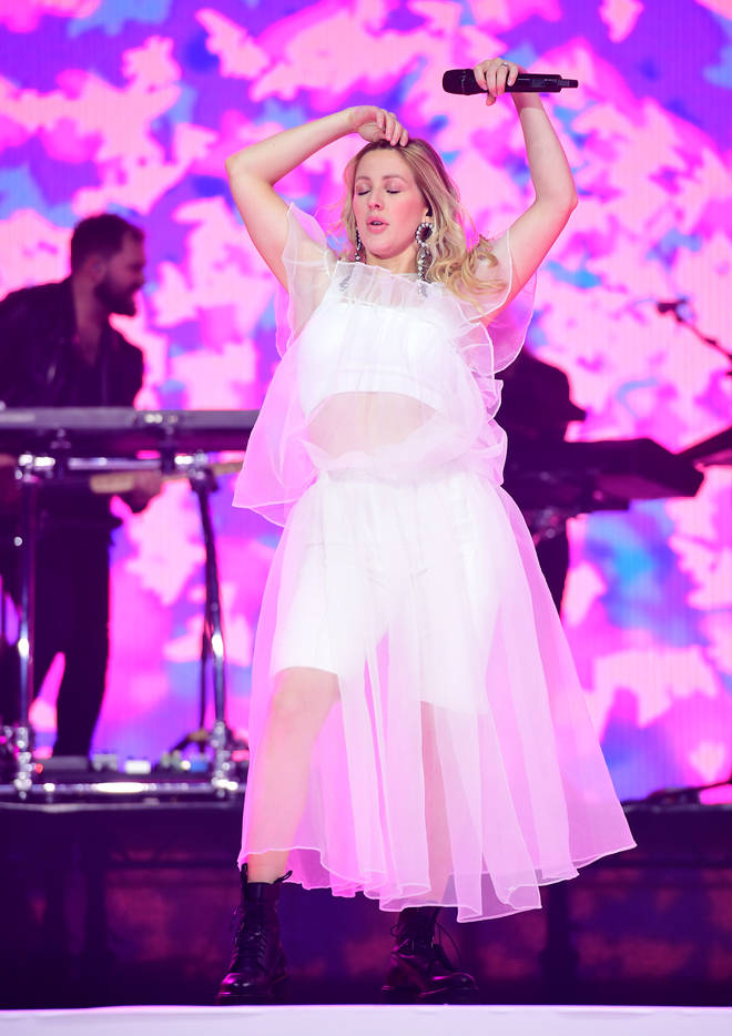 Ellie Goulding performing on stage at the Jingle Bell Ball 2018