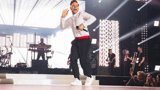 Olly Murs performing on stage at the Jingle Bell Ball 2018