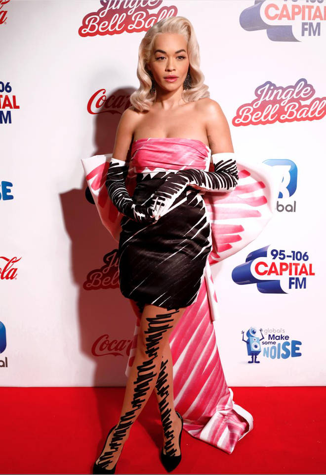 Rita Ora on the red carpet at the Jingle Bell Ball 2018