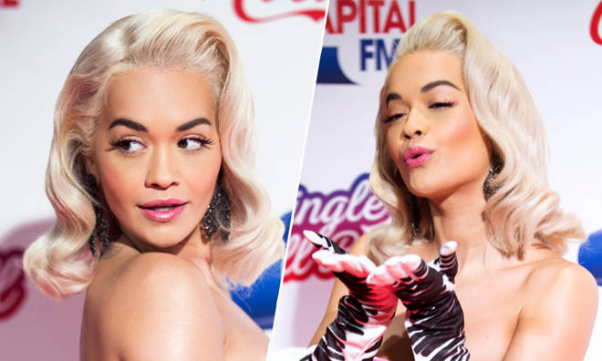 Rita Ora's gone platinum blonde for her pin up look
