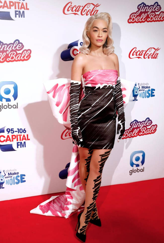 Rita Ora's full length shot wearing Moschino at JBB