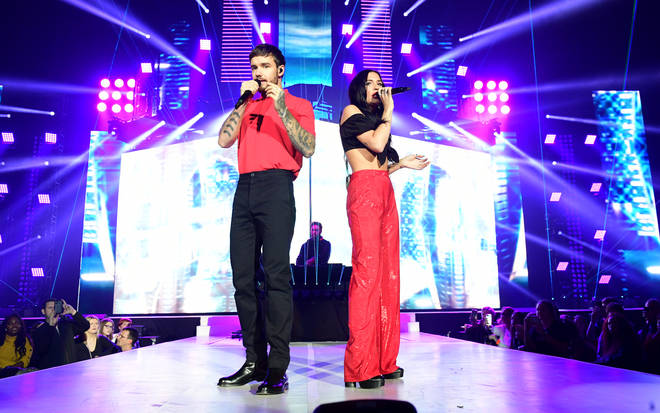 Lennon Stella and Liam Payne on stage at the Jingle Bell Ball 2018