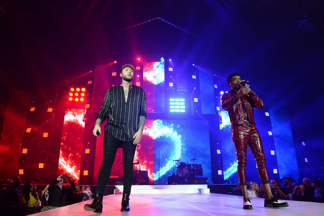 James Arthur and Dalton Harris on stage at the Jingle Bell Ball 2018
