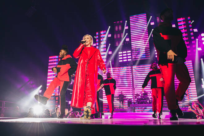 Anne Marie performing on stage at the Jingle Bell Ball 2018