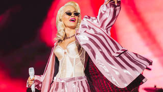 Rita Ora performing on stage at the Jingle Bell Ball 2018