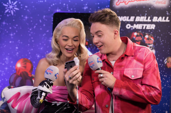 Rita Ora backstage with Roman at the Jingle Bell Ball 2018