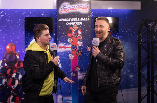 David Guetta and Sonny Jay backstage at the Jingle Bell Ball 2018