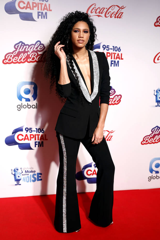 Vick Hope on the red carpet at the Jingle Bell Ball 2018