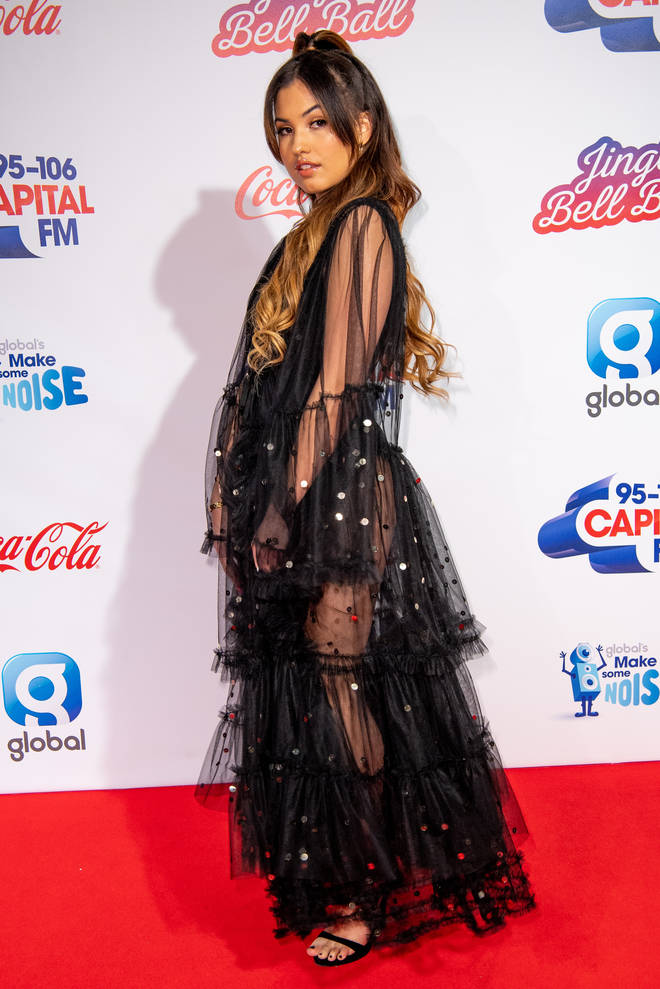Mabel on the red carpet at the Jingle Bell Ball 2018