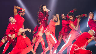 Cheryl performing on stage at the Jingle Bell Ball 2018