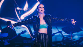 Jess Glynne performing on stage at the Jingle Bell Ball 2018
