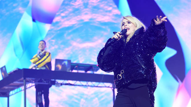 Sigala and Paloma Faith on stage at the Jingle Bell Ball 2018