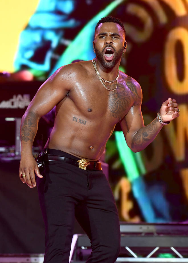 Jason Derulo performing on stage at the Jingle Bell Ball 2018