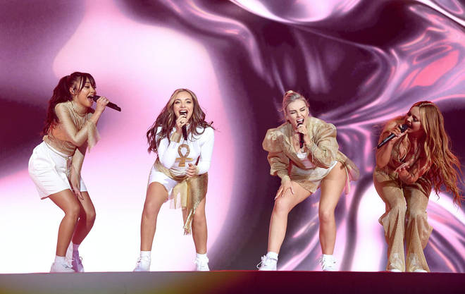 Little Mix on stage at the Jingle Bell Ball 2018