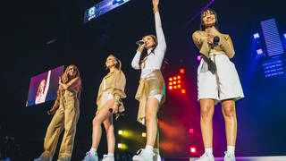 Little Mix performing on stage at the Jingle Bell Ball 2018