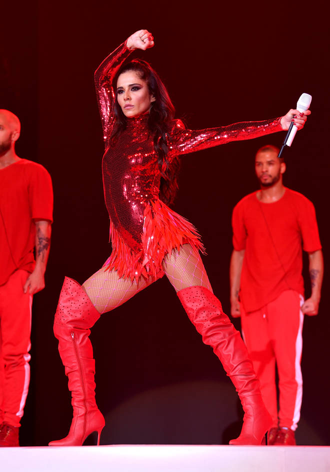 Cheryl on stage at the Jingle Bell Ball 2018